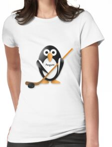 Penguin with hockey stick Womens Fitted T-Shirt
