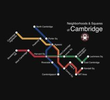 Neighborhoods & Squares of Cambridge (white) by Rajiv Ramaiah
