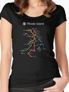Rhode Island (white) Women's Fitted Scoop T-Shirt