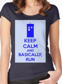 Keep Calm And Basically, Run Women's Fitted Scoop T-Shirt
