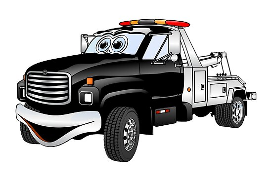 Black Silver Tow Truck Cartoon by Graphxpro