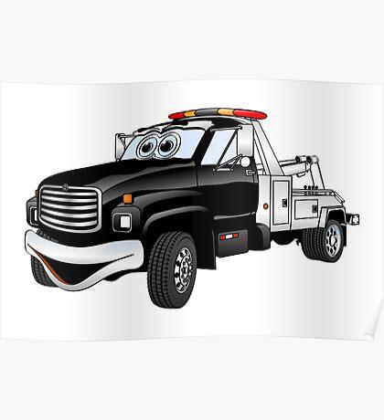 Black Silver Tow Truck Cartoon Poster