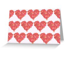 Heart Made of Hearts - Red Pink Orange Greeting Card