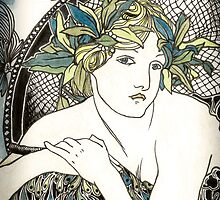"""Appropriation of Alphonse Mucha's """"Woman with Poppies"""" 1898 Crossed sepia and colour by Ashleia Hoskin"""