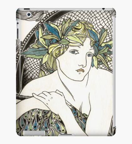 "Appropriation of Alphonse Mucha's ""Woman with Poppies"" 1898 Crossed sepia and colour iPad Case/Skin"