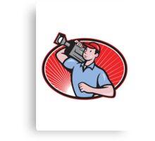 Cameraman Film Crew Carry Camera Canvas Print