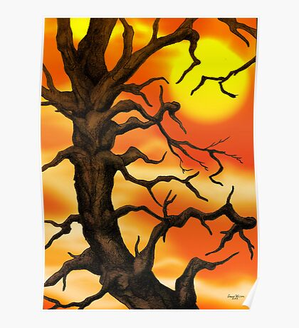 Sunset Tree Pencil drawing Poster