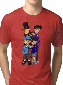 Case Closed x Professor Layton comic colours Tri-blend T-Shirt