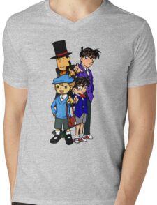 Case Closed x Professor Layton comic colours Mens V-Neck T-Shirt