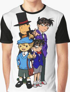 Case Closed x Professor Layton comic colours Graphic T-Shirt