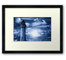 Lighthouse Collaboration in Blue Framed Print