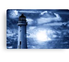 Lighthouse Collaboration in Blue Canvas Print