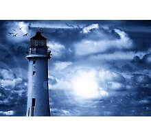 Lighthouse Collaboration in Blue Photographic Print