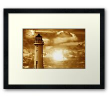 Lighthouse Collaboration in Brown Framed Print