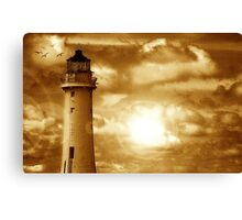 Lighthouse Collaboration in Brown Canvas Print