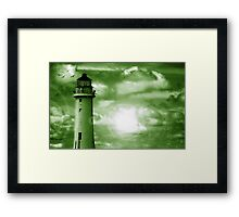 Lighthouse Collaboration in Green Framed Print