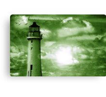Lighthouse Collaboration in Green Canvas Print