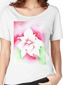 Red Poinsettia Christmas design - Aquamarkers. Women's Relaxed Fit T-Shirt