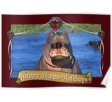 Happy Hippo Holidays Poster