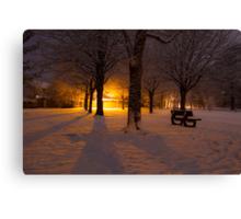 Gildredge park snow light Canvas Print