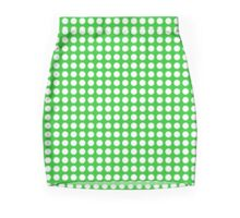 White Green Polka Dots Mini Skirt