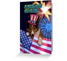 Fourth Of July Sheltie Puppy Greeting Card