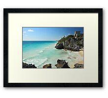 Tulum Ruins Seascape Framed Print