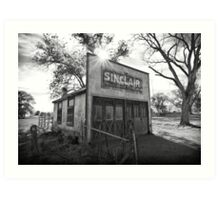 Old Sinclair Station (Black & White) Art Print