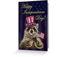 Independence Day Raccoon Greeting Card