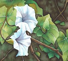 Bell Vine Flowers - Aquamarkers. by Gee Massam