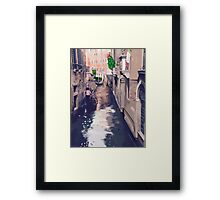 Venice canal with gondolas and gondoliers Framed Print