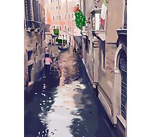 Venice canal with gondolas and gondoliers Photographic Print