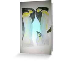 Mum Dad and baby family of penguins Greeting Card