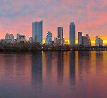Austin Skyline Sunrise from Lou Neff Park 1 by RobGreebonPhoto