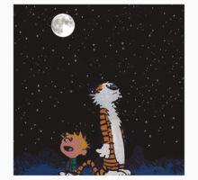 calvin and hobbes night sky  Kids Tee