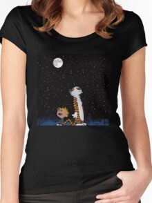 calvin and hobbes night sky  Women's Fitted Scoop T-Shirt