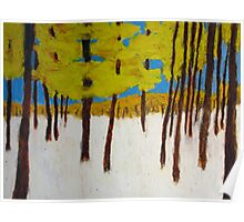 Fall Forest with Snow Poster