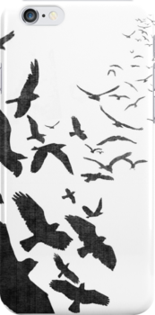 Flock of Birds in Flight by RedPine