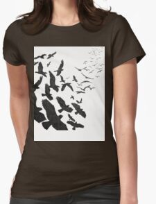 Flock of Birds in Flight Womens Fitted T-Shirt