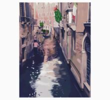 Venice canal with gondolas and gondoliers Kids Tee