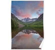 Maroon Bells Sunset near Aspen, Colorado Poster