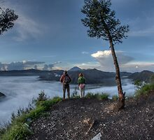 tourists looking out over bromo tengger semaru national park by paulcowell