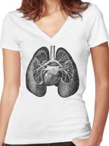 Anatomical Lungs Women's Fitted V-Neck T-Shirt