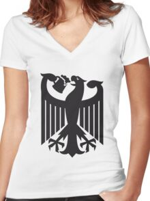 Germany coat of arms eagle beer  Women's Fitted V-Neck T-Shirt