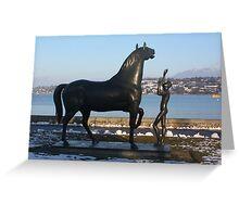 """""""L'homme et le cheval"""" - a statue by Schwarz. Parc Mon-Repos,  Geneva, Switzerland Greeting Card"""