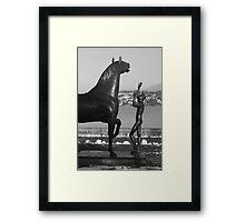"""""""L'homme et le cheval"""" - a statue by Schwarz. Parc Mon-Repos, Geneva, Switzerland  Framed Print"""