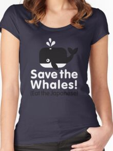 Save the Whales! Eat the Japanese Women's Fitted Scoop T-Shirt