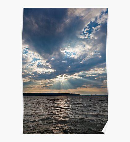 Sun shining thru clouds Poster