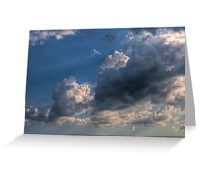 Cumulus clouds with rays of sun Greeting Card