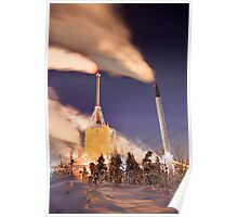 A Kymijärvi powerplant at night Poster